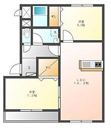 栃木県宇都宮市ゆいの杜6丁目の賃貸マンションの間取り