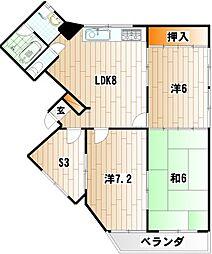 第二中央みささビル[6階]の間取り