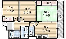 コモドヴィラ天王寺[6階]の間取り