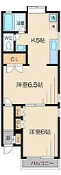 東京都目黒区柿の木坂3丁目の賃貸アパートの間取り