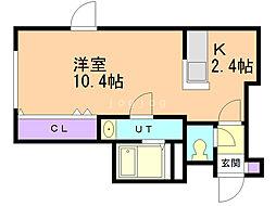 プレシャス18番館 2階1Kの間取り