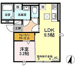 愛知県名古屋市南区道徳新町1丁目の賃貸アパートの間取り