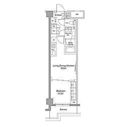 東急東横線 都立大学駅 徒歩5分の賃貸マンション 1階1LDKの間取り
