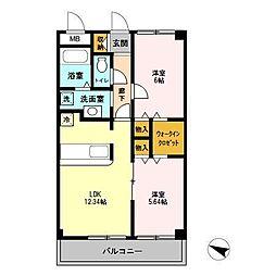 埼玉県上尾市西宮下2丁目の賃貸マンションの間取り