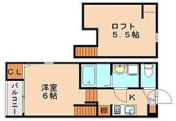 仮)那珂6丁目デザイナーズ[2階]の間取り
