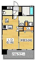 福岡県福岡市博多区東比恵4丁目の賃貸マンションの間取り