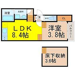 愛知県名古屋市熱田区五番町の賃貸アパートの間取り