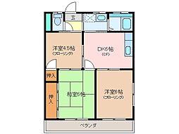 三重県松阪市内五曲町の賃貸マンションの間取り