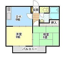 サンライフ沖野上A・B[1階]の間取り