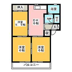 グリ−ンパルク都府楼A[2階]の間取り