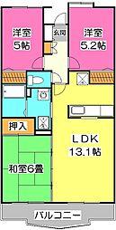 埼玉県所沢市花園3丁目の賃貸マンションの間取り