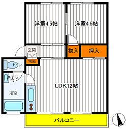東京都立川市富士見町6丁目の賃貸マンションの間取り