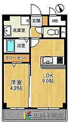 西鉄天神大牟田線 高宮駅 徒歩3分の賃貸マンション 7階1LDKの間取り