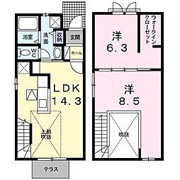 岡山県岡山市東区城東台西3丁目の賃貸アパートの間取り