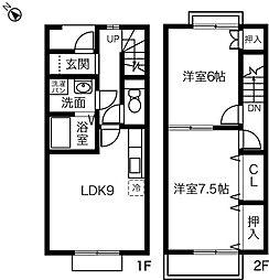 [テラスハウス] 愛知県一宮市花池3丁目 の賃貸【/】の間取り