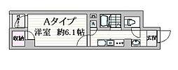 都営浅草線 戸越駅 徒歩1分の賃貸マンション 6階1Kの間取り