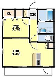 愛知環状鉄道 永覚駅 徒歩14分の賃貸アパート 2階1LDKの間取り