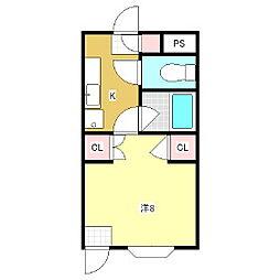 アップルズH棟[1階]の間取り