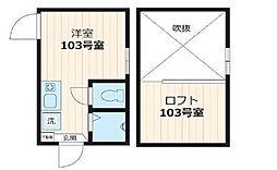 スタジオアパートメント大久保(ネット無料・更新料0円)[103号室号室]の間取り