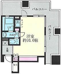 ルネ新宿御苑タワー 3階ワンルームの間取り