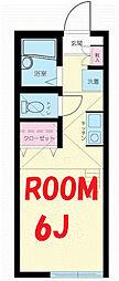 神奈川県横浜市鶴見区岸谷4丁目の賃貸アパートの間取り
