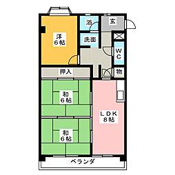 愛知県名古屋市天白区平針2の賃貸マンションの間取り