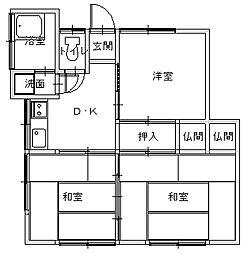 長崎県長崎市横尾1丁目の賃貸アパートの間取り