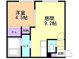 仮)ラ・シュエット上江別西町 2階1LDKの間取り