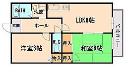 大阪府大阪市東淀川区豊里3丁目の賃貸アパートの間取り