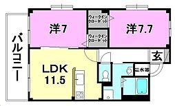 フォブール土居田公園[301 号室号室]の間取り
