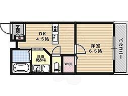 クレアーレ・カンノン 4階1DKの間取り