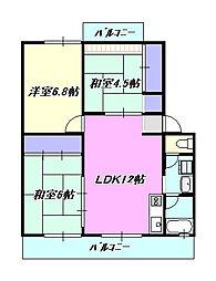 神奈川県茅ヶ崎市松浪2丁目の賃貸マンションの間取り