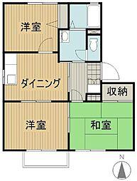 福島県いわき市平上荒川字桜町の賃貸アパートの間取り