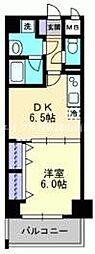 JR山陽本線 岡山駅 徒歩20分の賃貸マンション 9階1DKの間取り