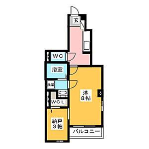 間取り,1SK,面積34.01m2,賃料8.3万円,JR埼京線 北戸田駅 徒歩16分,JR京浜東北・根岸線 南浦和駅 徒歩24分,埼玉県さいたま市南区辻5丁目