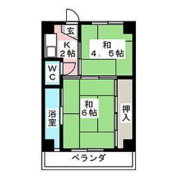 ビレッジハウス美濃加茂2号棟[1階]の間取り