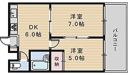 ジョイテル西田辺I[5階]の間取り