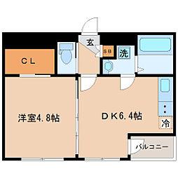 仙台市地下鉄東西線 大町西公園駅 徒歩2分の賃貸マンション 6階1DKの間取り