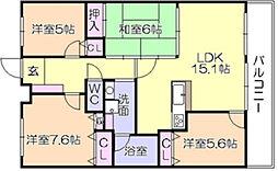 アルカディアタワーズ宮ノ陣5番館[7階]の間取り