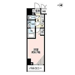 プレール・ドゥーク文京湯島 9階1Kの間取り