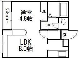 ホークメゾン札幌1号館[217号室]の間取り