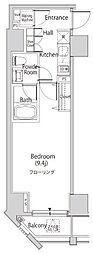 東京メトロ南北線 麻布十番駅 徒歩7分の賃貸マンション 12階1Kの間取り