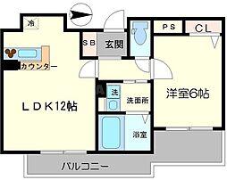 リーガル梅田[4階]の間取り