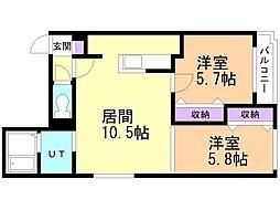 パレス札幌1 1階2LDKの間取り