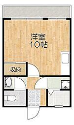 沖縄都市モノレール 壺川駅 徒歩6分の賃貸アパート 5階ワンルームの間取り
