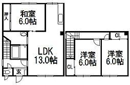 [一戸建] 北海道札幌市西区平和二条2丁目 の賃貸【北海道 / 札幌市西区】の間取り