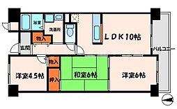 メゾンクリサンテーム 4階3LDKの間取り