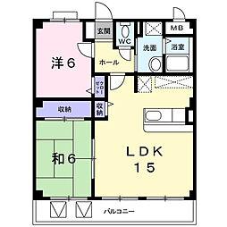 大阪府四條畷市西中野2の賃貸マンションの間取り