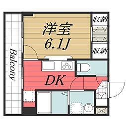 成田スカイアクセス 成田湯川駅 徒歩13分の賃貸マンション 4階1DKの間取り