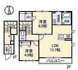 プロヌーブ南吉田[B201 号室号室]の間取り